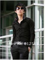 Мужская повседневная рубашка 2012New men's Casual Luxury Stylish Slim Long Sleeve Shirts 3 sizes M L XL white black