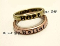 Simple retro lettering wishing ring, letter ring, finger ring, fashion jewelry
