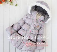 Пуховик для девочек 2012 90% white duck down winter round dot bowknot, quality goods children, girls down jacket./down coat