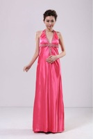 2012 Brand new Womens Sexy Pubwear/cocktail Halter Full length with beads pink/gold/white dress