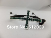 Christmas! HOT NEW CRYSTAL CROSS CURVED SIDE WAYS CONNECTOR MACRAME ADJUST BRACELET  Mix colors  Vintage Jewelry CLOVER153A/