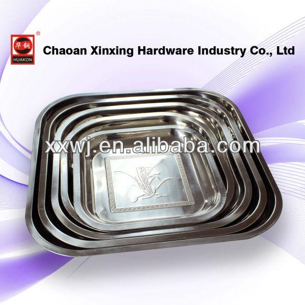 Stamp design stainless steel rectangular tray