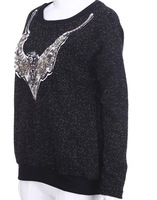 free shipping Deer Head Necklace Black Pullover sweater notu657