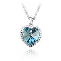 Цепочка с подвеской 18K white gold plated austrian crystal rhinestone HEART necklace pendant fashion jewelry holiday sale 1038