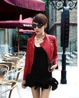 мода женская Корея сексуальная кожа розовый Дамы кожа Куртка Пальто меховой одежды 6021