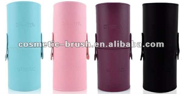 Beauty Hot Selling Free Sample Top Qaulity Portable Blue PU Brush Storage Cylinder