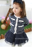 Hot Sale Child Girls Set Long Sleeve Single-Breasted Striped T shirt+Mini Layered Tutu Skirt Two Piece Children Girl Set New
