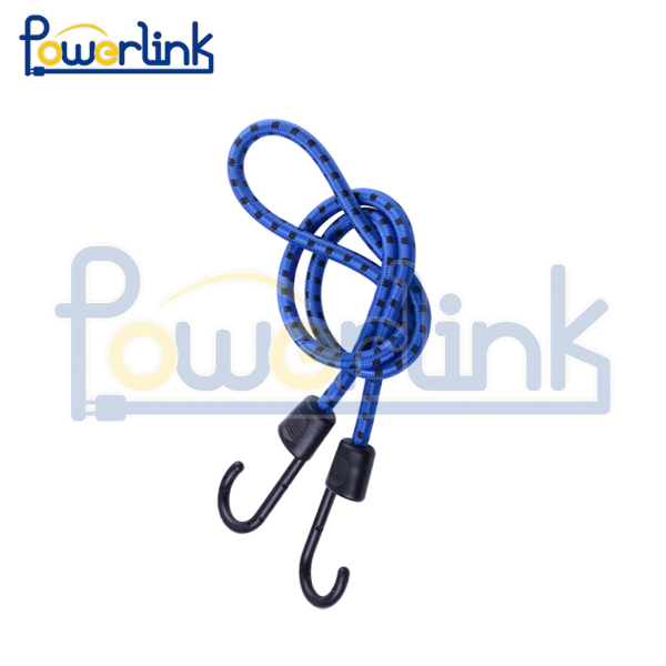 Blue bungee cord with strong plastic hooks