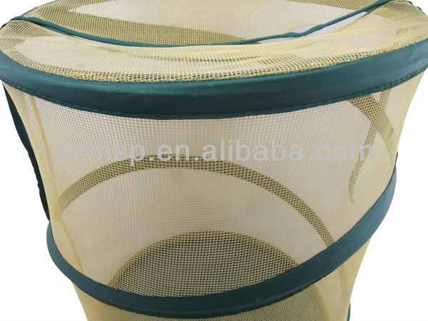 Cylinder Nylon Mesh Foldable Laundry Basket/ Laundry Bag