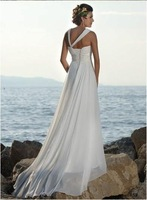 Свадебное платье HOT SALE Beach dress Chiffon+Satin Contracted temperament wedding dresses any size/colour /retail
