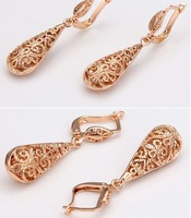 Серьги висячие 424 European and American fashion hollow pattern with water drops female models temperament Earrings Jewelry