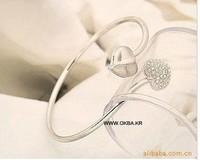 Ювелирные изделия в форме сердца 028-1 double heart full of crystal Bangles gift for girls