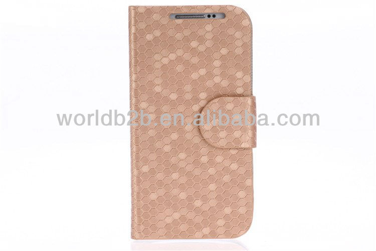 Diamond Skin Leather with Hard Case Cover for Samsung Galaxy S4 Mini i9190, with card slot & Stand design