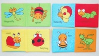 Школьная книга 6 Pc Washable 12*12cm baby infant toddle cloth book set includes Number, animal, vehicle, insect