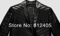 2013 new men's genuine sheepskin leather jacket for autumn fashion business suit collar coat black short design outerwear m-xxxl