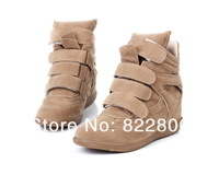 Genuine cow leather fashion women isabel marant sneakers shoes,women wedges plus size 35-42 free shipping