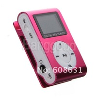 New Mini silver 4GB Clip MP3 Player With Small LCD Display Screen Built-in USB 2.0 three colors Free shipping