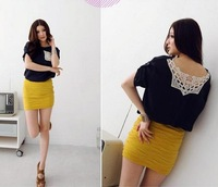 Free shipping! 2012 summer new! Fashion sexy back hollow lace solid t shirt W1177011508