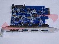 Добавочная карта для ПК 10pcs/lot by DHL/UPS, SuperSpeed USB 3.0 PCI Express + Dual Power eSATA + 15-pin SATA Power Connector