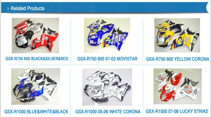 Motorcycle part complete ABS fairings kit for GSX-R600 GSXR750 2001 2002 2003 01 02 03 BLUE