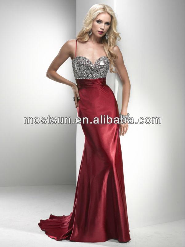 EV213 Fashion Spaghetti Strap Sweetheart Beaded Top Satin Long Skirt Purple Formal Evening Dress