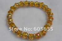 Браслет из бусин Fashion Jewelry Champagne Glass Crystal Faceted Roundel Beads Elastic Line Bracelets 20pc per Lot