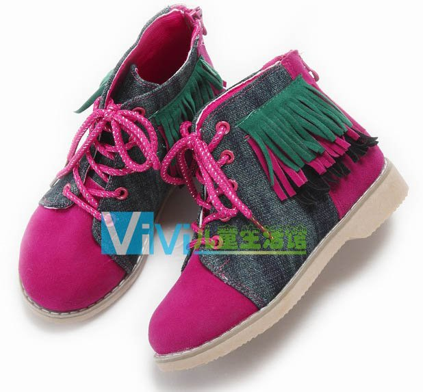 Wholesale Student children Shoes Sailcloth Leather casual shoes Tassel Pink Mixed size 5pairs/lot