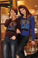 Женский пуловер 8547 2013 Korean Style Fashion Bears Printed Pullover Long Sleeve Woolen Sweater Winter Knitwear T Shirt Blouse