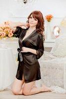Sexy Lady Satin Lingerie Chiffon Sleepwear Nightdress Robe Gown G-string Night[040436]