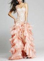 Платье для выпускниц Hot 2012 Sheath One Shoulder Sleeveless Satin Organza High Low Peach Homecoming Dresses With Beadwork Ruffles