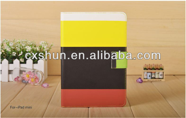 New arrival Colorful rainbow leather case for ipad mini
