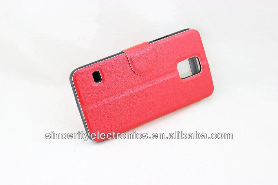 Smart View Window logo hole PU Leather Flip case For Samsung s5/i9600