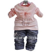 Комплект одежды для девочек 1pc Retail, Baby Girls Lace Jean Model 3 Pieces Fashion Set