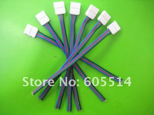 [Seven Neon]Free Shipping 50 pcs Male Connector Cable Wire For 5050 Flexible RGB LED SMD Strip Light