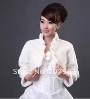 белый & слоновой кости для новобрачных шерсти обертывания/куртка