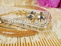 Чехол для для мобильных телефонов Fashion mobile phone case covers for iphone 4 4s 5, shiney flower chain beads, bling rhinestone crystal pearl