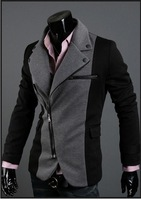 Free shipping 2012 new fashion the irregular zipper suit & Korean Fashion Slim suit jacket color black and gray size M-XXL1032