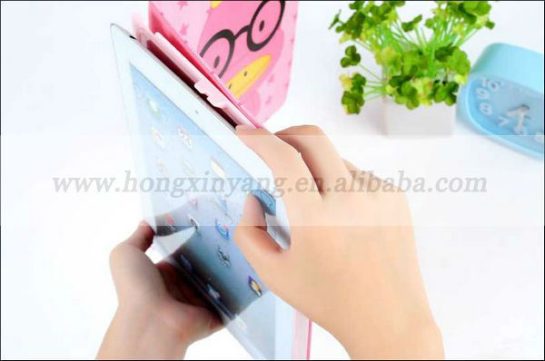 Hot cute cartoon leather case for ipad mini