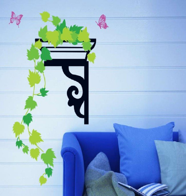 Green maple leaf wall Stickers Decal,Elegent Butterfly Wall Paper ...