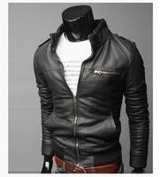 Classic Men's PU Leather Coat 2 Colors 4 Sizes free shopping,leather jacket,fashion jacket,racing jacket,leather sport suit