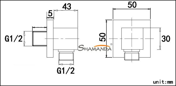 Товары для ванной комнаты твердой латуни хром закончил в стену душ набор ручной соединитель розетка подключения-25130