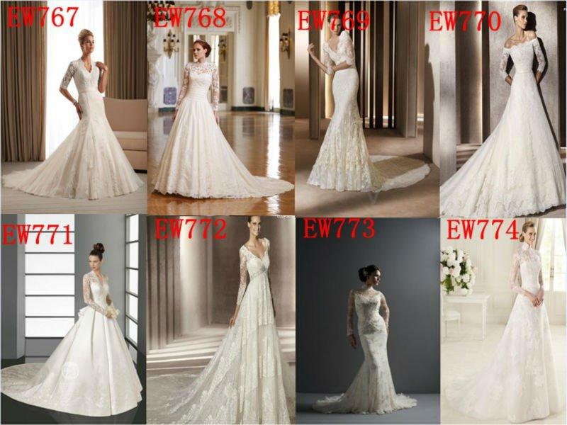 A line full length long lace sleeve empair waist bridal wedding dress 2013