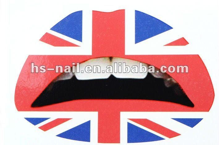 2012 nuova moda temporanea tatuaggio labbro/adesivo labbro