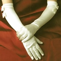 Good Quality Satin Bow Bride Wedding Bridal Gloves ,Pure White and Ivory White Colors Free Shipping[040784]