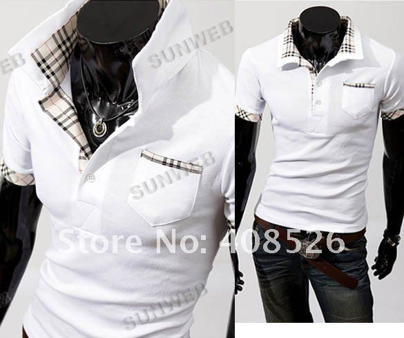 2012 New Casual Men's Stylish Coat Slim Short Sleeve Shirts Jacket Fit Checked T-Shirts Tee 2 Color 4 Size free shipping 3633