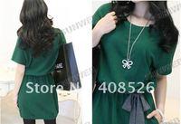 Женское платье New Women's Lady Fashion Dolman Short Sleeve Casual Cotton Batwing Dress Green 7310