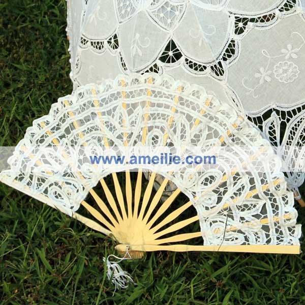 A0101 White lace fan
