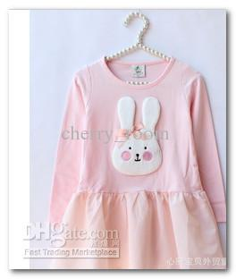Autumn Children Kids Girls Cute Bunny Style Long Sleeve Dress +Hare Leggings Children 2pcs Cotton Suits 1146