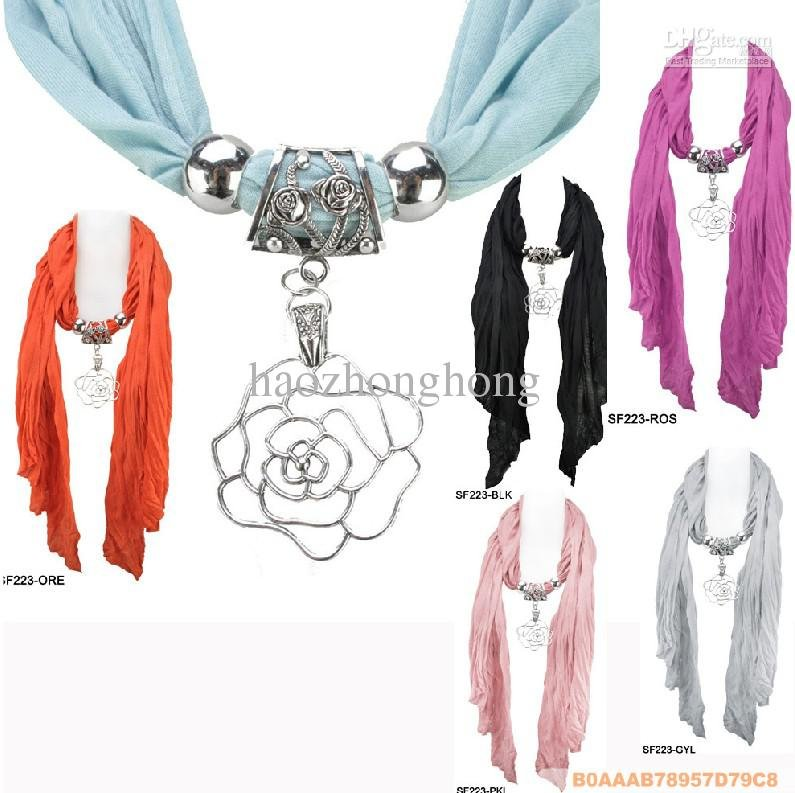 Scarf jewelry DHL Free Inspired Colourful Jewellery Pendant womens scarves fashion Cotton scarves