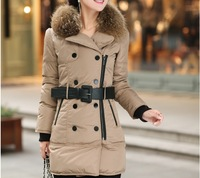 Женские пуховики, Куртки pretty fashion women winter warm fur collar mid long zipper down parkas 2colors